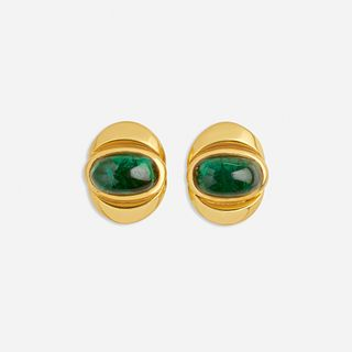 Marina B, Cabochon tourmaline and gold earrings