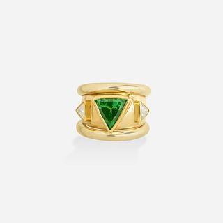 Grossular green garnet, diamond, and bicolor gold ring