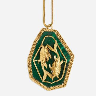 Gold and malachite Pisces necklace
