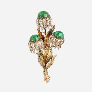Buccellati, Emerald and diamond flower brooch