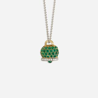 Diamond and emerald bell necklace