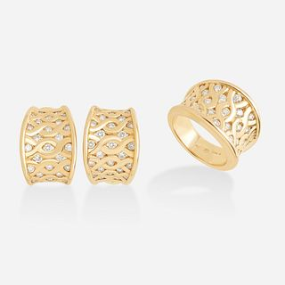 Diamond and gold ring and earrings