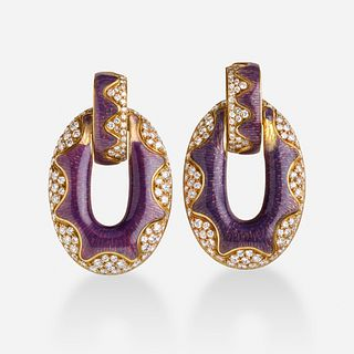 Bulgari, Diamond, enamel, gold earrings