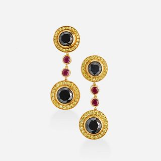 Black and yellow diamond and ruby earrings