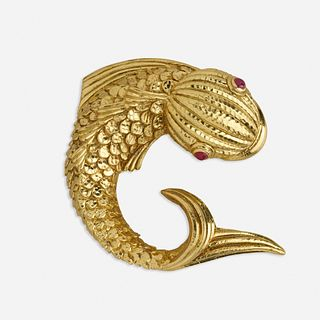 David Webb, Gold and ruby fish brooch