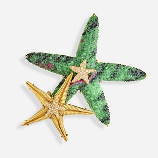 Ruby zoisite and diamond starfish brooch