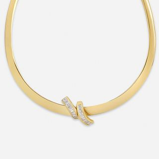 Diamond and gold collar necklace