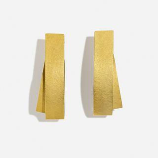 Ulla & Martin Kaufmann, 'Folded' gold earrings