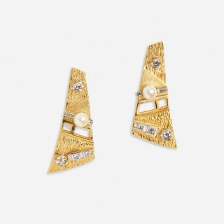 Gold, diamond, and cultured pearl earrings