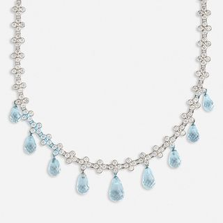 Tiffany & Co., Diamond and aquamarine 'Crochet Lace' necklace