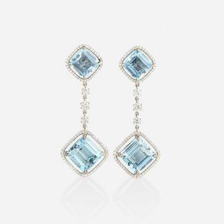 Aquamarine and diamond ear pendants