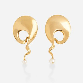 Vivianna Torun for Georg Jensen, 'Mobius' gold and cultured pearl earrings