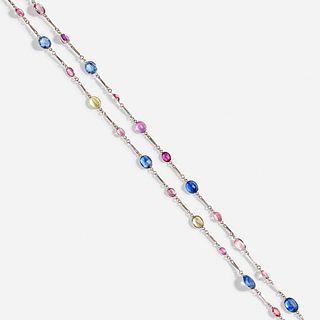Tiffany & Co., Multicolored sapphire sautoir necklace