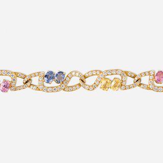 Tiffany & Co., Multicolored sapphire and diamond bracelet