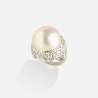 Attributed to Verdura, Mabe cultured pearl and diamond ring