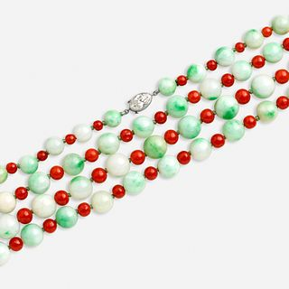 Tiffany & Co., Jadeite and coral bead long sautoir necklace