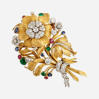 Van Cleef & Arpels, Diamond and gem-set bouquet brooch