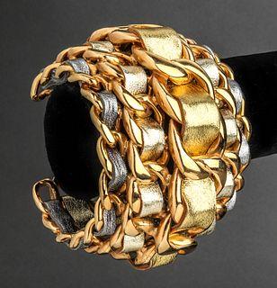 Chanel Runway Gold-Tone & Lambskin Cuff Bracelet