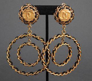 Chanel Double Hoop Lambskin Earrings, 1993