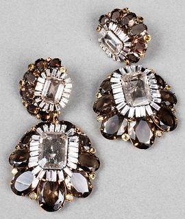 Iradj Moini Gold-Tone Rutilated Quartz Earrings