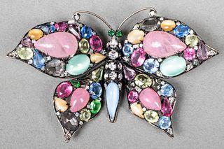Iradj Moini Costume Faux Gemstone Butterfly Brooch