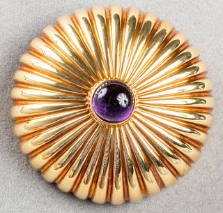 Vintage 18K Yellow Gold Amethyst Dome Brooch / Pin