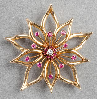 Vintage 14K Yellow Gold Diamond Ruby Brooch