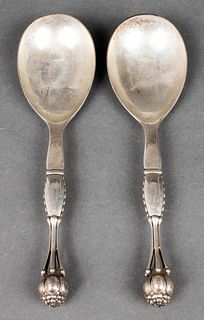 Georg Jensen Silver Serving Spoons, Pair