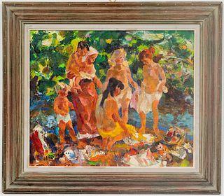 "John Edward Costigan ""Bathers"" Oil on Canvas"