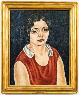 """Ben Shahn """"Portrait of Anna Linden"""" Oil on Board"""