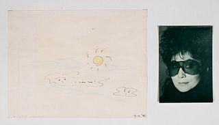 """Yoko Ono """"I Love You!"""" 1986 Mixed Media Drawing"""