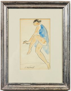 "Abraham Walkowitz ""Dancer"" Watercolor on Paper"