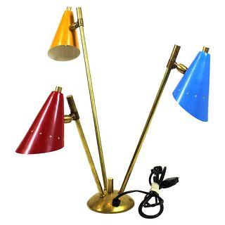 Italian Stilnovo Style Tri-Color Table Lamp