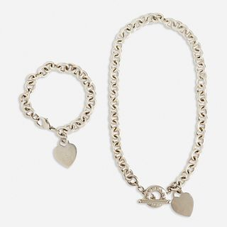 Tiffany & Co., Silver 'Heart Tag' necklace and bracelet