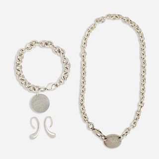 Tiffany & Co., Silver necklace and bracelet and Peretti earrings