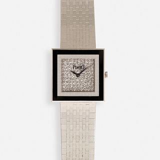 Piaget, White gold, black onyx, and diamond watch, Ref. 9200C4