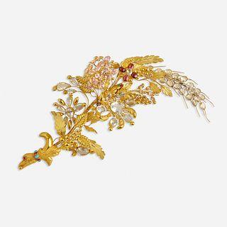 Late Georgian gem-set gold hair ornament