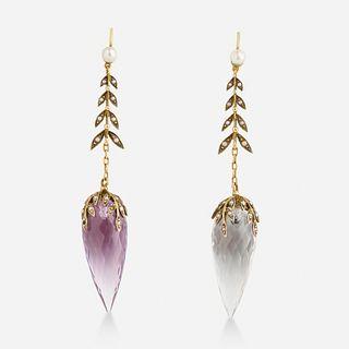 Rock crystal and seed pearl drop earrings