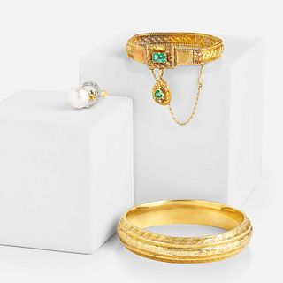 Antique emerald bracelet, gold bangle, and ring