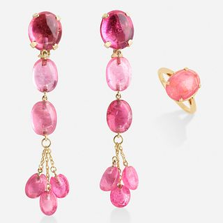 Pink tourmaline earrings with ring