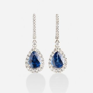Sapphire and diamond ear pendants