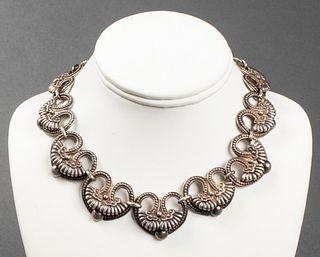 Margot De Taxco Silver Ornate Heart Link Necklace