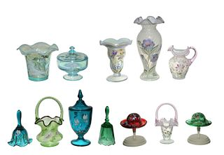 15 Pieces Signed Fenton Hand Painted Glass