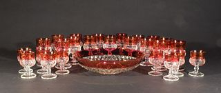 26 Cranberry to Clear Bowl and Tiffin Kings Crown