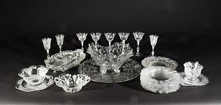 26 Pieces Cambridge Rose Point Clear Glass