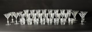 32 Cambridge Glass Rose Point Clear Stems