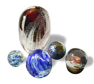 5 Studio Art Glass Paperweights