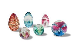 6 Glass Eye Studio Art Glass Paperweights