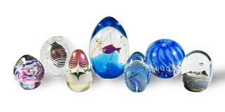 7 Signed Studio Art Glass Paperweights