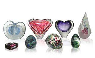 8 Studio Art Glass Paperweights, Small Vases